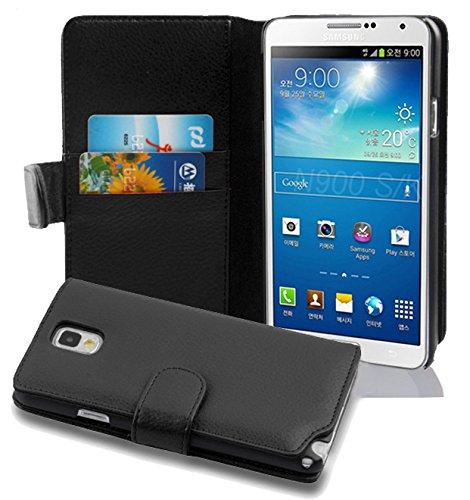 Cadorabo Coque pour Samsung Galaxy Note 3 Noir DE Jais Housse de Protection Etui Portefeuille Cover pour Note 3 - Stand Horizontal et Fente pour Carte