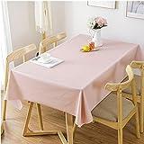 HM&DX PVC Nappe de Table Imperméable sans Huile Résistant aux Taches Nappe Protection Pur Couleur Minimaliste Revêtement de Table à Manger café-Rose 120x120cm(47x47inch)