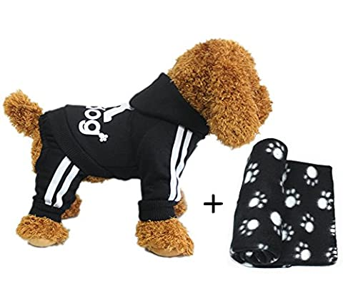 YAAGLE Pet Warm Sweater Hoodie Coat Sweatshirt Clothes Costume Apparel for Dog Puppy Cat,Black+Blanket