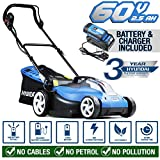 Hyundai Cordless Battery Powered Lawn Mower Cutting Width 42cm with 60V Lithium Ion Battery & Charger HYM60LI420, Blue