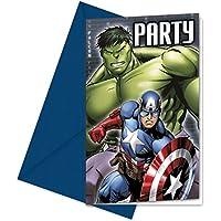 Juego de 12tarjetas de invitación de * Avengers Assemble * para Fiesta de cumpleaños o temática de fiesta//6tarjetas de invitación con 6sobres//Niños Cumpleaños invitaciones Invitations Super Held Marvel Comic