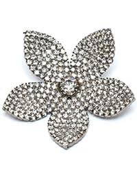 Broche de la flor de cristal de Swarovski nupcial (tono plateado) / broche Pin por Krystal / rodio Swarovski Crystal elegante broche / flor broches de plata / pernos de colección de vestidos y bolsos