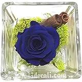 Rosa blu stabilizzata profumata cubo 10x10