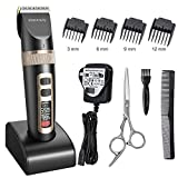 Hair Clippers, ETEREAUTY Professional Cordless Men's Clippers Hair Trimmer Rechargeable Hair Shaver Electric Haircut Kit Waterproof Ceramic Blade with Battery LED Display and 3 Adjustable Speeds for Adults and Kids