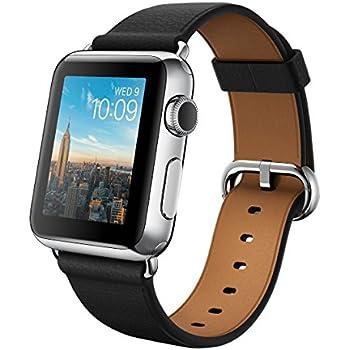 """Apple Watch 38 mm (1ª Generación) - Smartwatch iOS con caja de acero inoxidable en plata (pantalla 1.32"""", Apple S1 a 520 MHz, 8 GB, 512 MB RAM), correa clásica negra con hebilla moderna"""
