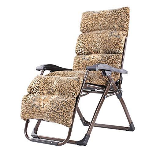 CYSHAKE Liegestuhl Lounge-Sessel Outdoor-Garten Klappdeck Stuhl Schwerkraft Garten Liegestuhl Lazy Patio Liegestuhl Strandkorb mit Kissen (Color : Leopard) - Lazy Leopard