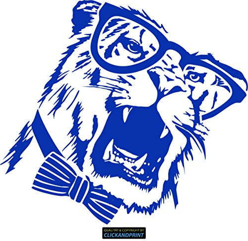 CLICKANDPRINT Aufkleber » Brillen-Tiger, 130x117,9cm, Brillantblau • Dekoaufkleber / Autoaufkleber / Sticker / Decal / Vinyl