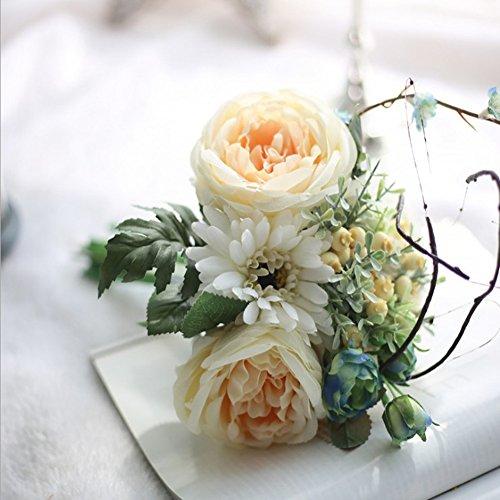 ECHTE TOUCH Blume rot Rose Künstliche Blumen, Seide, Dekoration für Garten Party Tisch Büro gelb