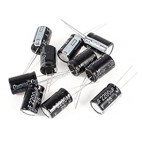 10Pcs 2200uF 25V Computer Aluminum Electrolytic Capacitors