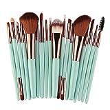 SamMoSon Make-Up Pinsel, 18 Stück Make-up Pinsel Set Make Up Foundation Augenbrauen Eyeliner Blush Kosmetik Concealer Pinsel (Grün)