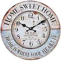 Reloj de pared - Home Sweet Home - reloj de cocina de madera con esfera grande de MDF, reloj retro en diseño de moda Shabby Chic con mecansimo de quarzo silencioso, Ø: 32 cm