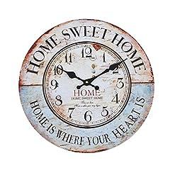 Idea Regalo - Orologio da muro - Home sweet Home - Silenzioso orologio da cucina in legno con grande quadrante in MDF, Orologio retro con design shabby chic alla moda con meccanismo silenzioso al quarzo, Ø: 32 cm