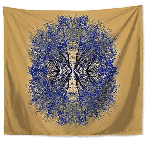 Lartum Tapestry Wall Hanging,Retro Literarischer Natur Landschaft Psychedelischen Gelb Blau Drucken Fabric Home Wohnzimmer Sofa Hintergrund Wandteppich Dekorative Strandtuch, 150 X 130 cm -