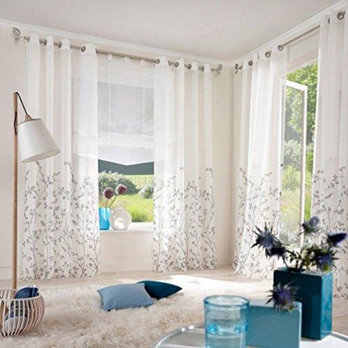 Amazon.de: Souarts Weiß Stoffdruck Blumen Gardine Vorhang ...