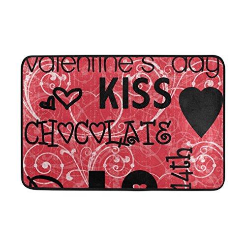 JSTEL Valentine 's Day Love Herz Kiss-Fußmatte waschbar Garten Büro Fußmatte, Küche ESS-Living Badezimmer Pet Eintrag Teppiche mit Rutschfeste Unterseite 59,9x 39,9cm
