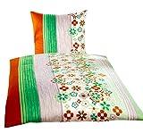 Leonado Vicenti Baumwoll-Satin Bettwäsche 4 tlg. 135x200 cm Blumen Streifen Grün Weiß Orange gestreift mit Reißverschluss Set
