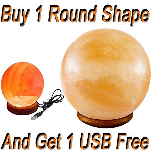Universell einsetzbare Himalaya-Kristall-Salz-Lampe, Kugelform, Therapeutische Lampe mit USB-Farbwechsel-Lampe (Globe Himalaya-salz-lampen)