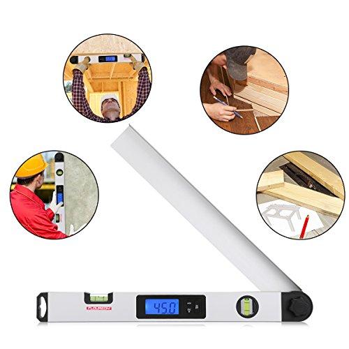 Floureon Buscador de   ngulo digital Calibrador 0-230    Transportador Regla de 410 mm  16 pulg   Buscador de   ngulo de inglete Herramienta de medici