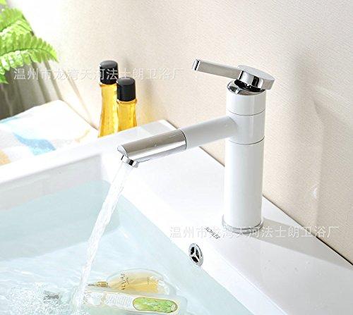 SSJ-bianca porcellana dipinta di lusso in ottone rubinetteria bagno lavabo-wide a caldo e a freddo il rubinetto