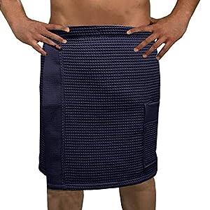 0fdb45a57929c0 HOMELEVEL Pique Herren Saunakilt Sauna Kilt Sarong 100% Baumwolle Herren  Blau