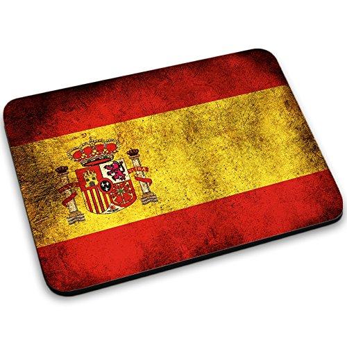 Drapeaux Espagne 1, Carte du Monde, Tapis de Souris Mouse Pad Mat Antidérapant. Parfait pour les Jeux, Travail et Accueil.