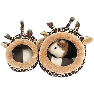 ZuckerTi Tierbett Hundebett Hundesofa mit Kuscheleinlage für Pet Hund Katze Haustier in 3 Größen(S/M/L) wählbar (XS - L21 x W23 x H15 cm, Braun Giraffe)