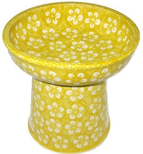 polnische-keramik-klein-katze-hund-erhohte-trockene-lebensmittel-wasser-schussel-j8zo-gelb-blossom