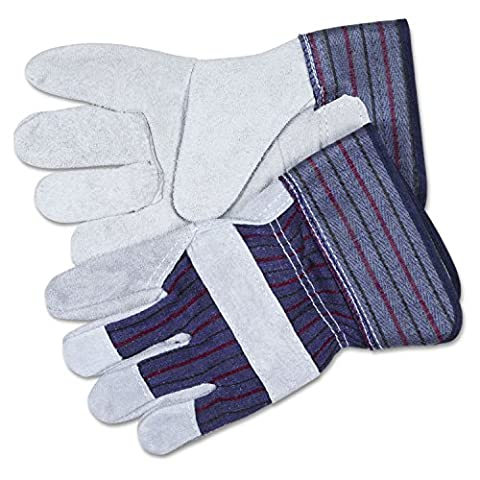 Split Leather Palm Gloves, Gray, Pair, Sold as 1 Pair
