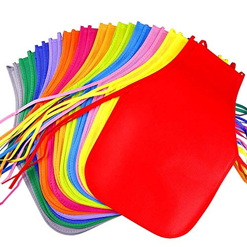 Kunst Kostüm - 24 Stück 12 Farben Kinder Kunst Gemälde Wasserdichter Kittel Schürzen Malen Kostüm für Küche, Klassenzimmer, Gemeinschaftsereignis, Kunsthandwerk und Kunstmalerei