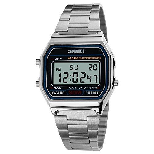 Männer Quarz Analoguhr, klassische Casual Armbanduhren Quadrat Gesicht Digitaluhr wasserdicht Kalender Datum Armbanduhr mit Edelstahlband (Silber)