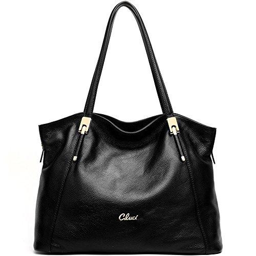 CLUCI Handtaschen Shopper Ledertaschen Umhängetasche Schultertasche Tote Bag Taschen für Damen Schwarz (Tote Designer-handtasche Bag)