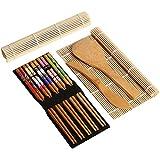 Completa sushi de bambú haciendo kit 2 sushi Rolling Mats arroz cuchara arroz esparcidor 5 par palillos