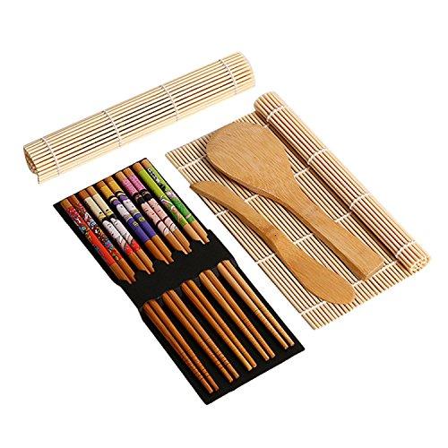 Gosear Complete Sushi en Bambou Making Kit 2 Sushi Tapis Roulant Cuillère à Riz épandeur 5 paires Baguettes