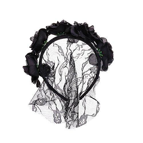 hwarze Blumen Spitze Schleier Abdeckung Kopfschmuck, lustige Party Half Face Death Cosplay Masken Sexy Eyemask Maske für Halloween Maskerade Party (Tag Der Toten Maskerade Maske)