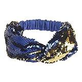 VENMO Frauen doppelte Farbe Pailletten Yoga Stirnbänder Elastische Run Kopf Haar Zubehör Glitzer Haarband mit Schleife in Metallic Streifen Optik, Stirnband, Headband Stirnbänder (Blue)