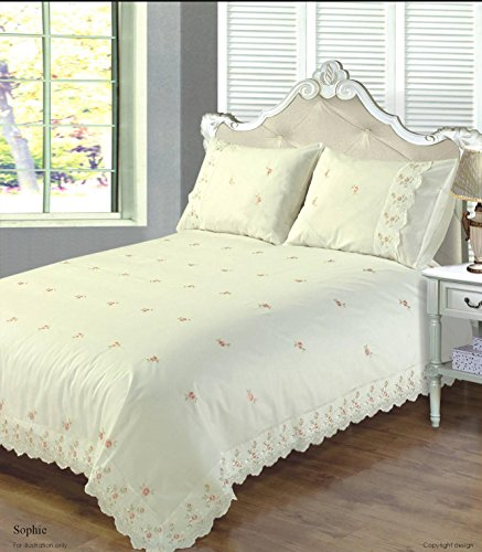 Bedding Heaven Beautiful Sophie Embroidered Anglais Floral Duvet Cover Set (Single, Cream)