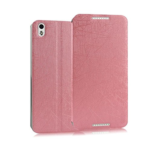 Heartly Premium Luxury PU Leather Flip Stand Back Case Cover For HTC Desire 816 - Pink
