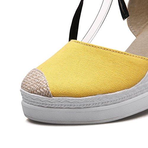 VogueZone009 Damen Gemischte Farbe Gewebe Hoher Absatz Schnüren Schließen Zehe Sandalen Gelb