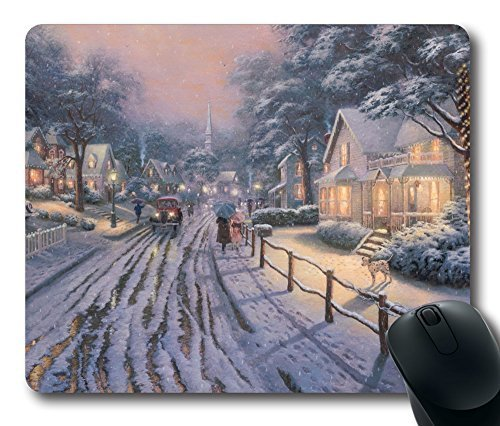 Personalized Custom Gaming Mouse Pad Oblong Shaped Hometown Christmas Memories By Thomas Kinkade Design Natural Eco Rubber Durable Computer Desk Stationery Accessories Mouse Pads For Gift (Christmas Kinkade Thomas Memories)