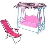 Homyl Poltrona da Tavolo Altalena Beach Deck Chair + Swing Accessori Miniatura per Doll