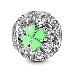 NINAQUEEN Glücksklee 925 Sterling Silber Bead Charms für Damen mit Runden 5A Zirkonia, Kommt in Geschenkbox, Nickelfrei Bestanden SGS Test