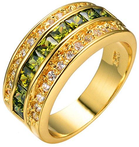 SaySure 10KT Yellow Gold Filled Peridot Anniversary