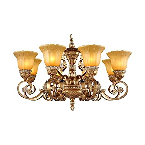 Chandeliers Living Room Dining Room Bedroom Lamps Iron Glass Resin Chandeliers European Pastoral Retro Carving Suction Dual-Use Incandescent Lamp Energy Saving Lamp B8