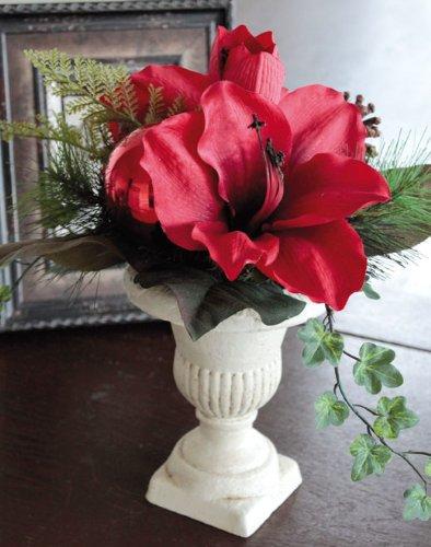 artplants Set 2 x Amaryllis-Arrangement im Keramiktopf mit Kugel, rot, Ø 30 cm, 35 cm – Kunstblume/Dekoblume