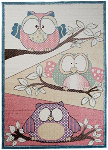 Teppich Kinderzimmer Jungen - Kinder Jugendzimmer Wohnzimmer - Trendige Eulen Mehrfarbig Design - Pastellfarben