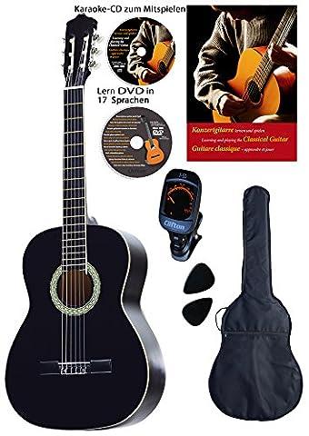 Konzertgitarre 4 4, schwarz, Rosewood Griffbrett und Brücke, Fichtendecke, Lern DVD, Karaoke CD, Songbook, gepolsterte Tasche mit Rückengarniture, 2 Stück Plectren, digitales Stimmgerät, Starter (Yamaha Akustik-gitarren Saiten)