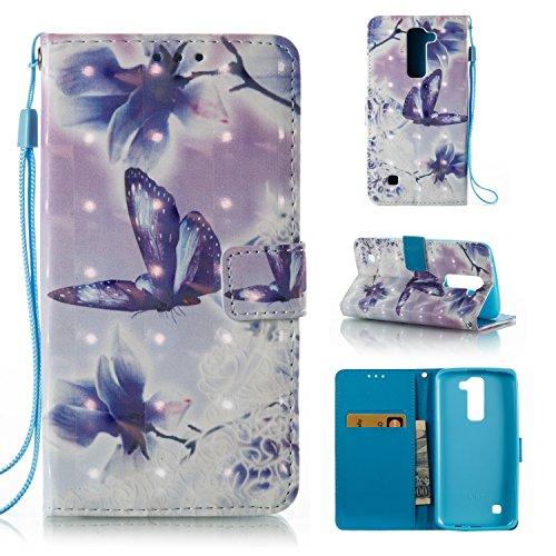 Cozy Hut LG K7 / LG K8 Hülle, PU Leder Flip Case mit Magnetverschluss Anti-Scratch Shell Cash Pouch ID Card Slot Standfunktion Etui für LG K7 / LG K8 - Lila Schmetterling Blume