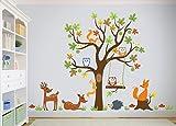 Wandtattoo kinder Babyzimmer Aufkleber Eule Eulen Wandsticker Wand Waldtiere Kinderzimmer Wandaufkleber Dekoration fürs Baby Kindergarten Baum XL 203 cm x 139 cm