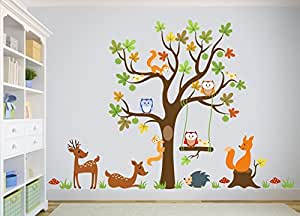 wandtattoo kinder babyzimmer aufkleber eule eulen wandsticker wand waldtiere kinderzimmer. Black Bedroom Furniture Sets. Home Design Ideas