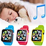 #7: Beyove Music Touch Button Battery Watch Toys Length Adjustable Waterproof for Kids Girls Boys Children Early Learning, Yellow/ Blue/Red (Red)